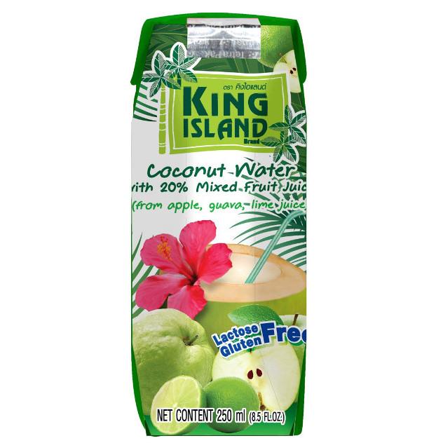 Натуральная кокосовая вода с фруктовыми соками (яблоко, лайм, гуава)