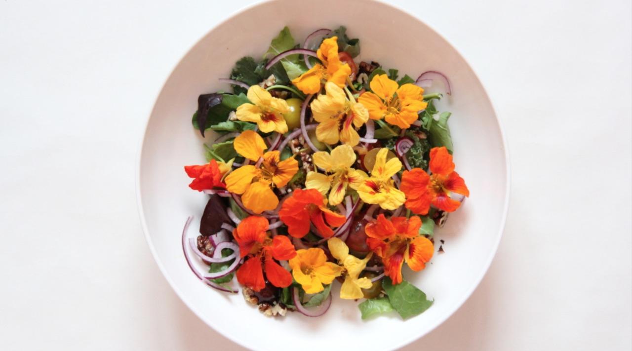 Салат с цветками настурции