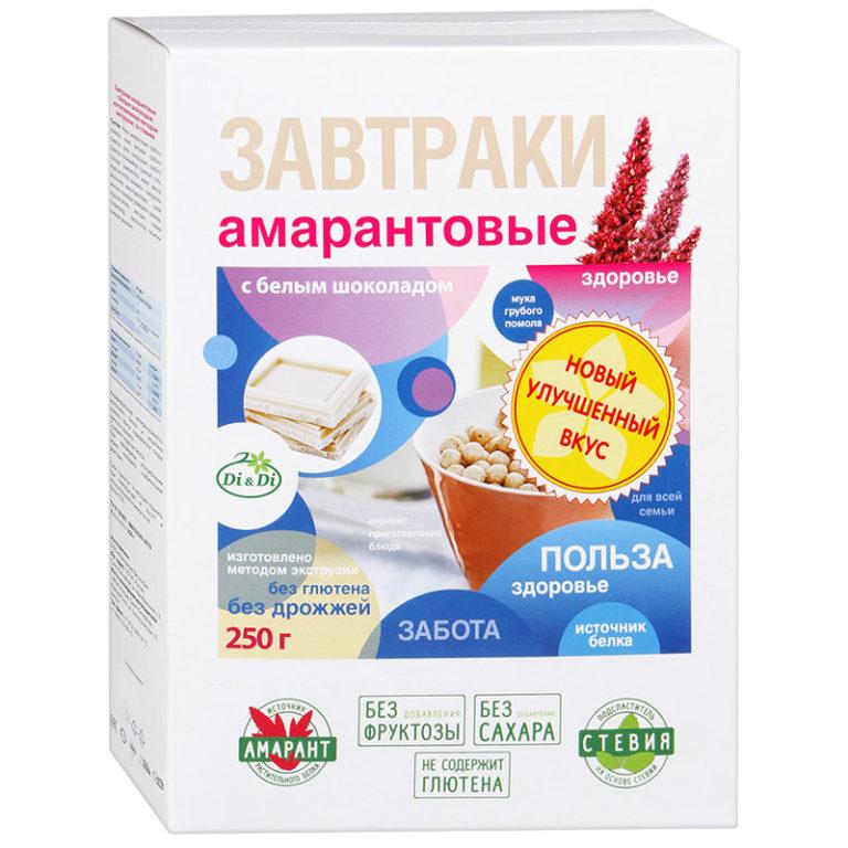 Завтраки амарантовые в белой глазури со стевией