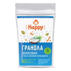 Гранола кокосовая с чиа и сиропом топинамбура Happy