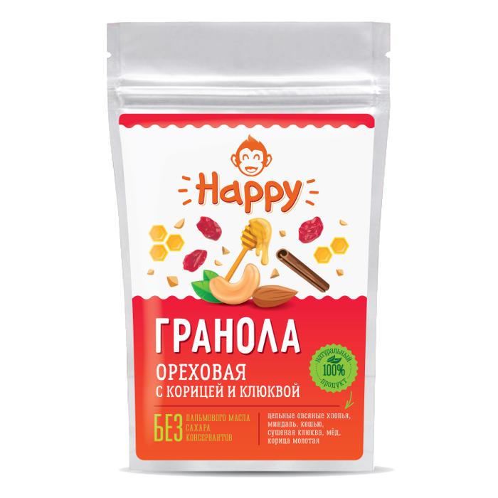 Гранола ореховая с корицей и клюквой Happy