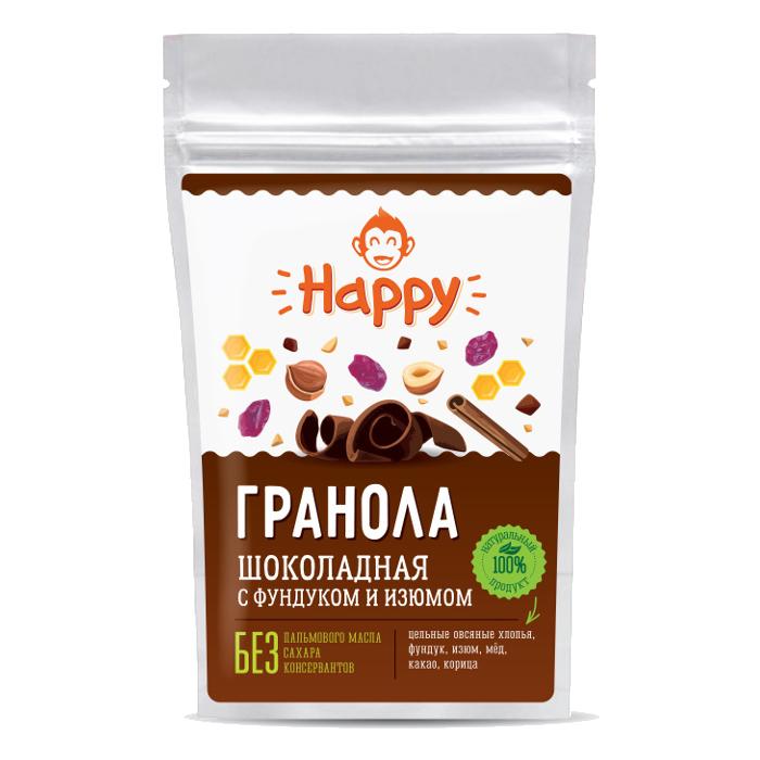 Гранола шоколадная с фундуком и изюмом Happy