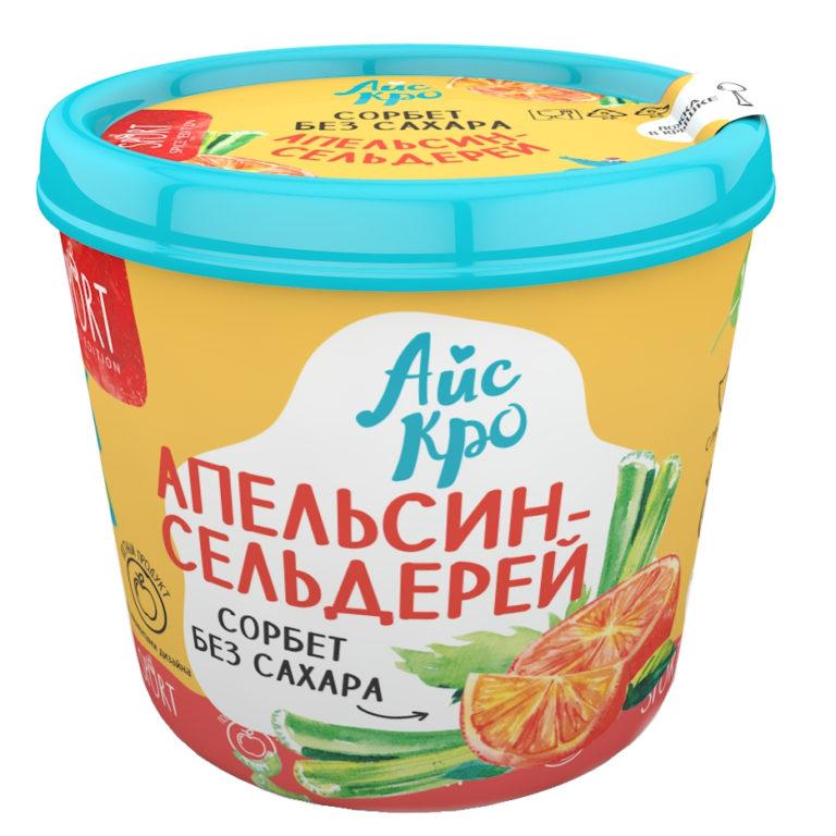 Мороженое сорбет веганское Апельсин+Сельдерей без сахара «АйсКро», 75 гр