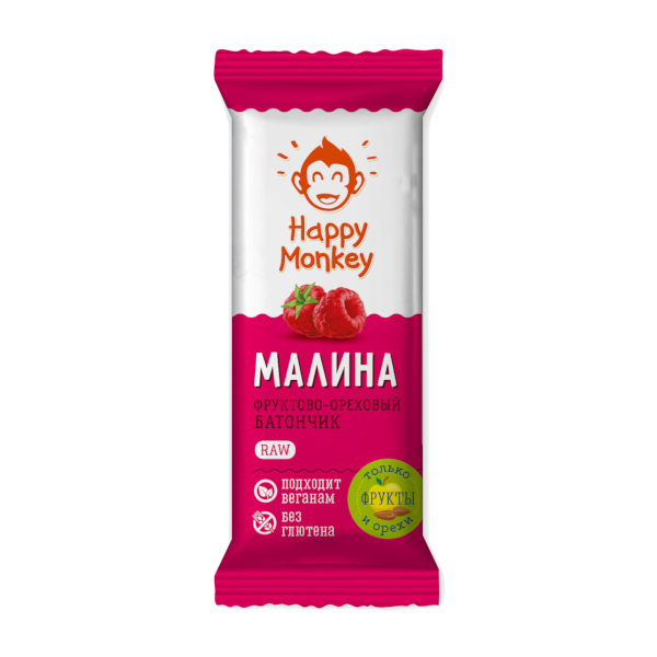 """Фруктово-ореховый батончик """"Малина"""" Happy Monkey"""