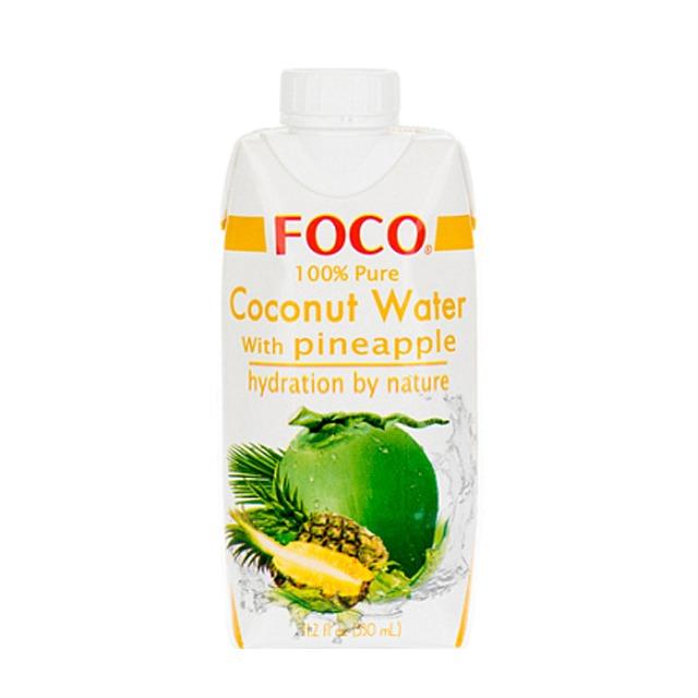 Кокосовая вода с соком ананаса FOCO 100% без сахара